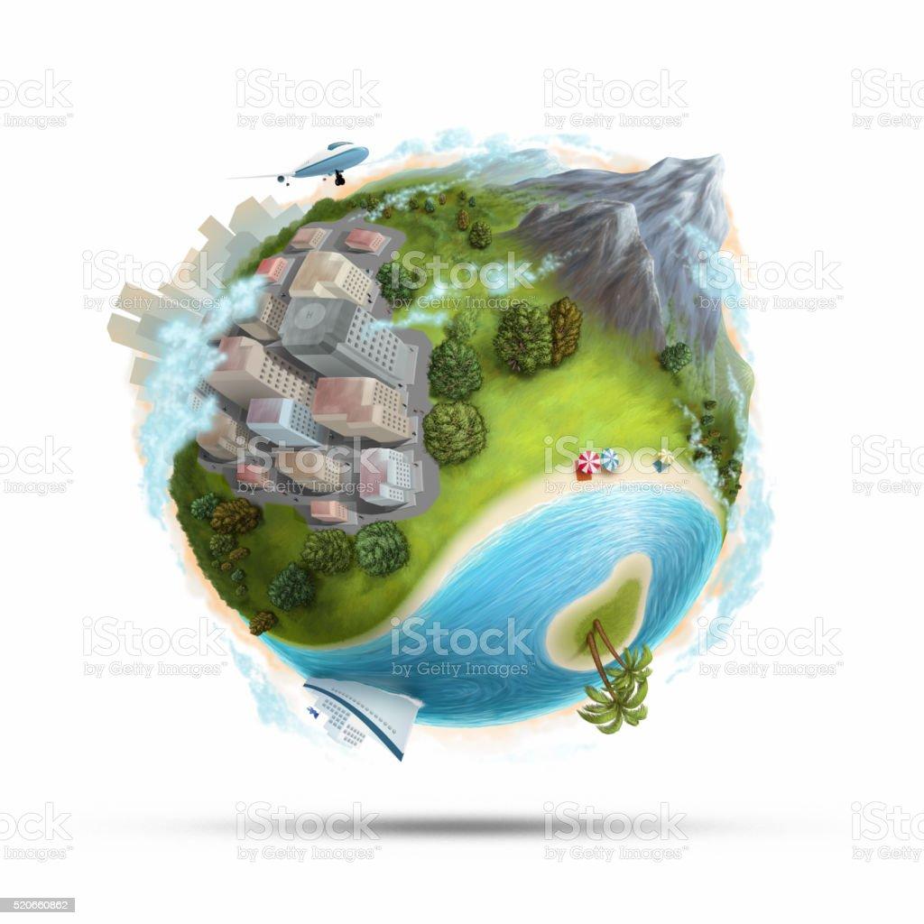 travel locations vector art illustration