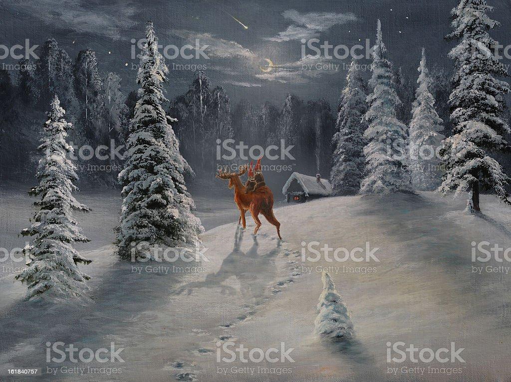 Travel on a deer vector art illustration