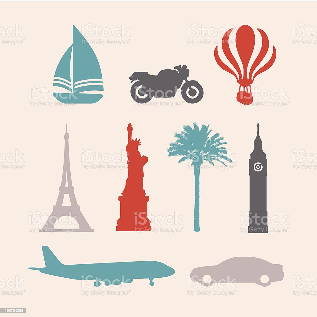 Travel Stencil Stamp Icons vector art illustration