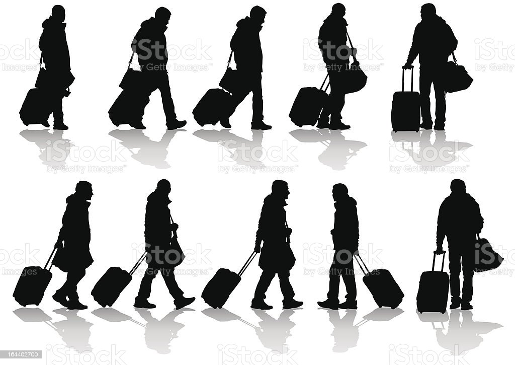Travelers with suitcases vector art illustration