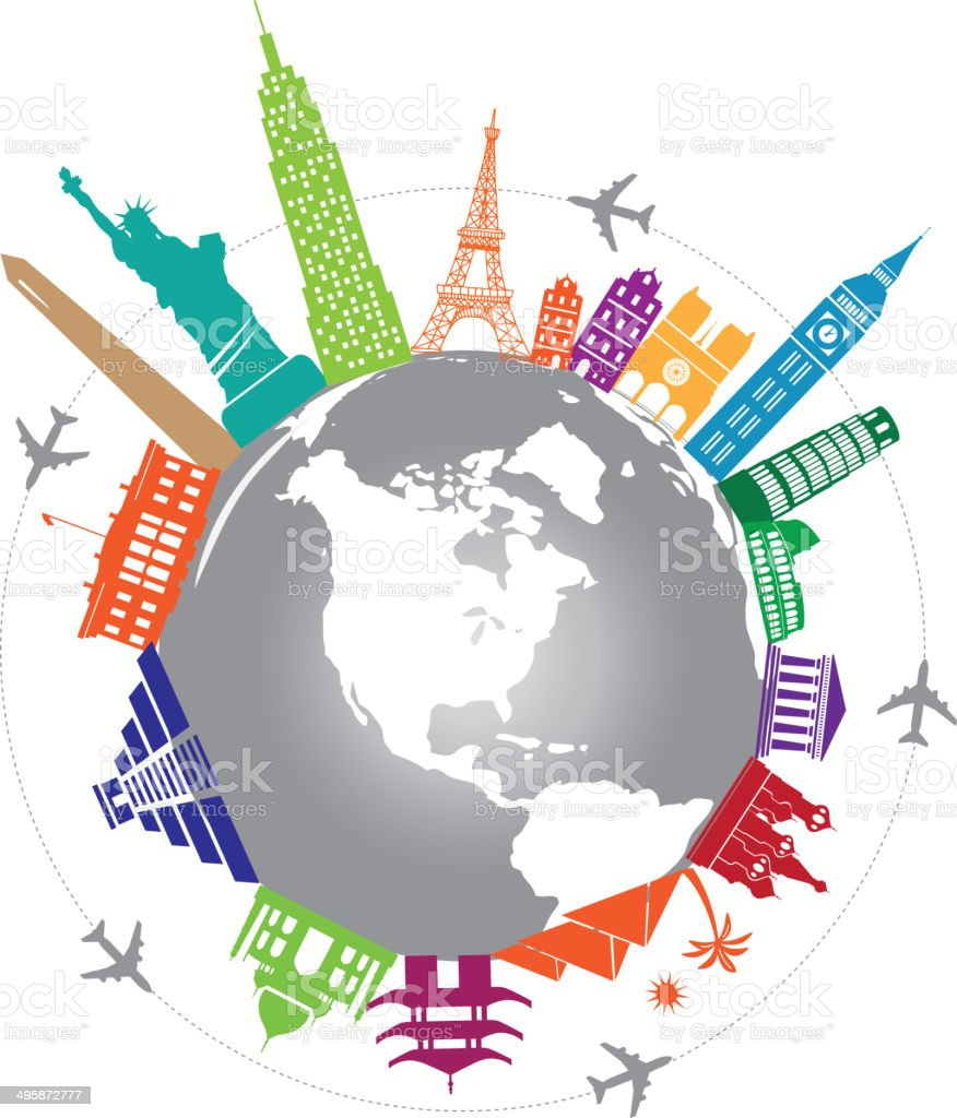Traveling around the world in black and white vector art illustration