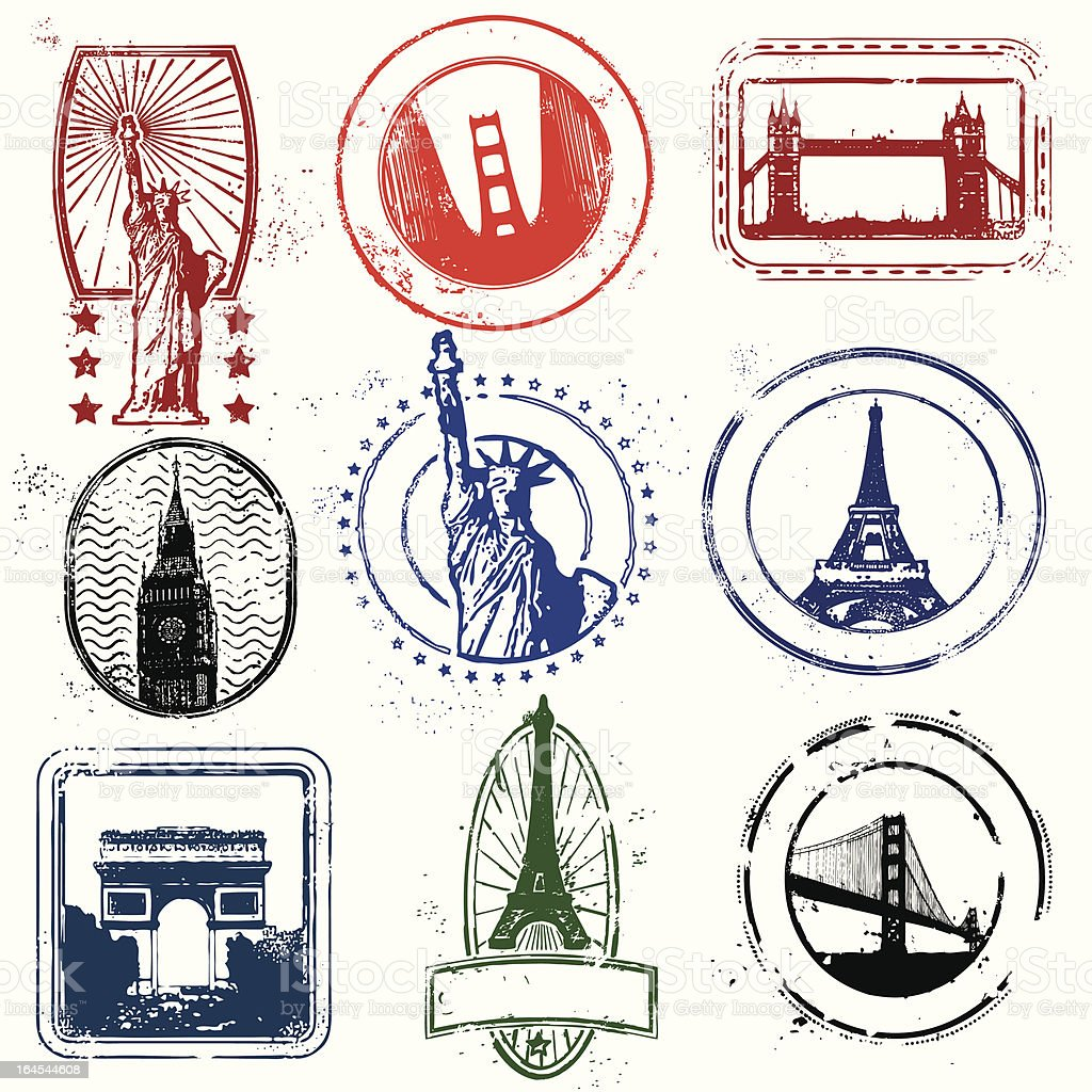 Traveling stamps of the west royalty-free stock vector art