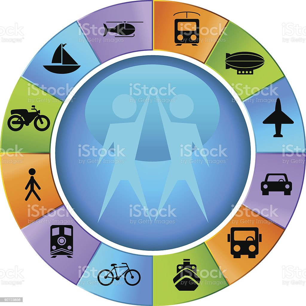 Traveling Team Wheel royalty-free stock vector art