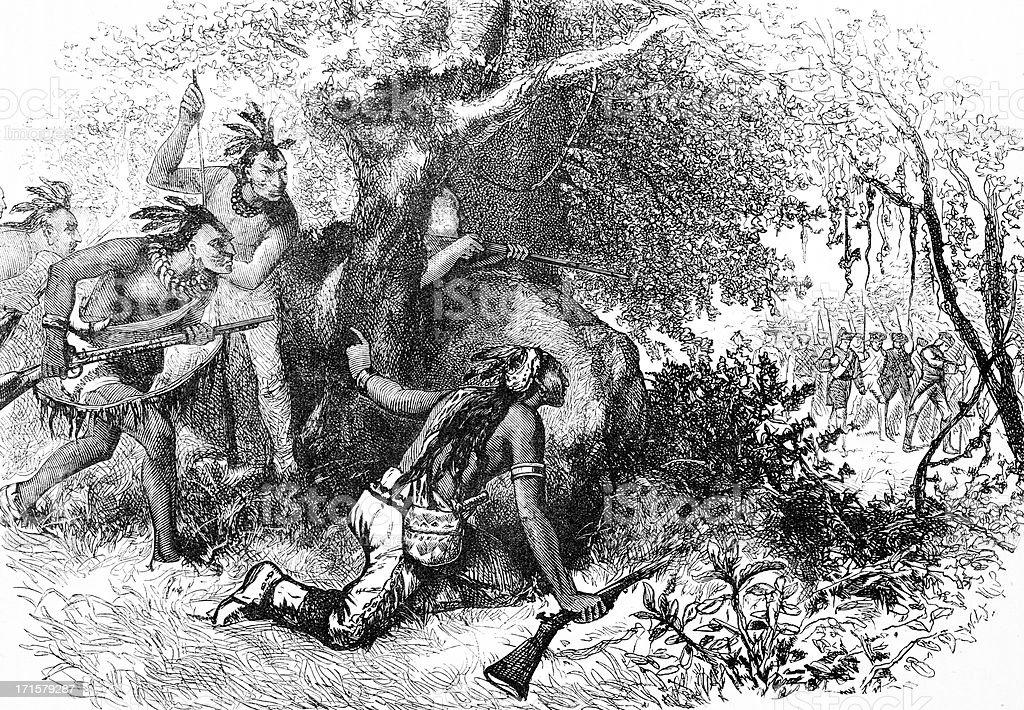 Treachery of the Cherokees Engraving vector art illustration
