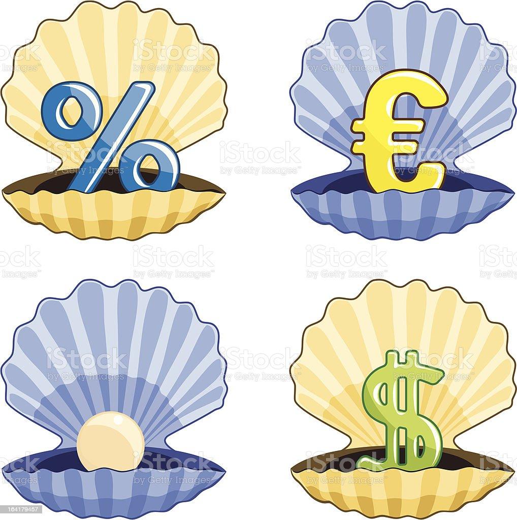 Treasure Shells Icon Set royalty-free stock vector art
