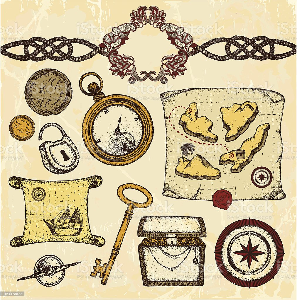 Treasures and maps vector art illustration