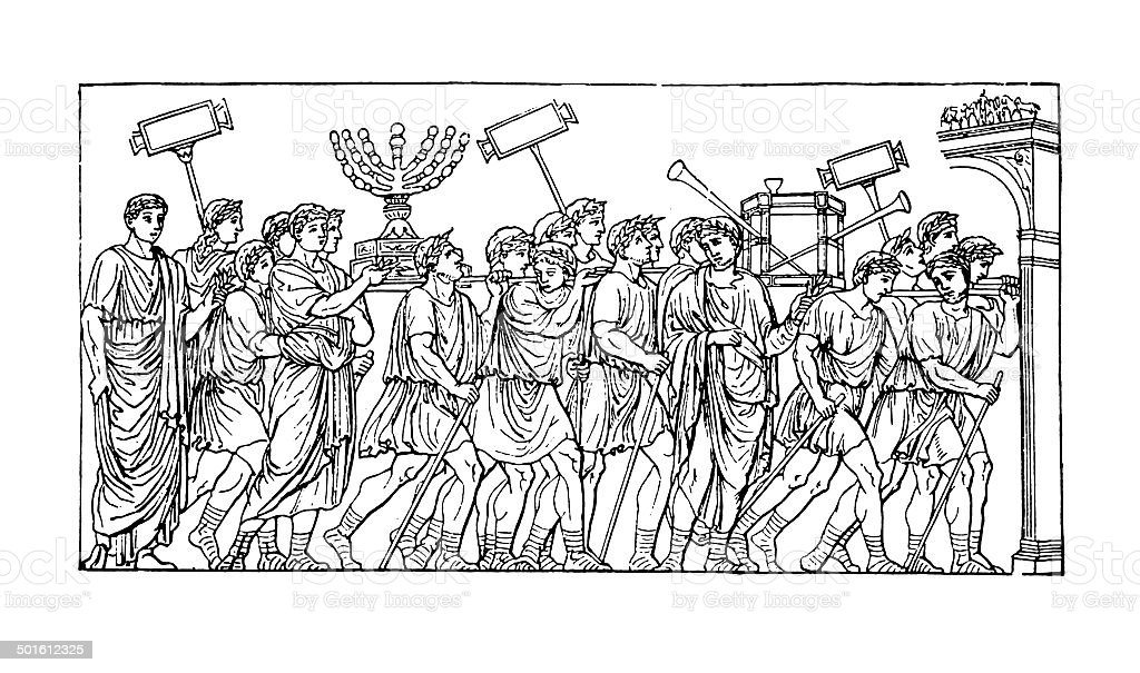 Treasures of the Temple in the triumph of Titus (engraving) vector art illustration