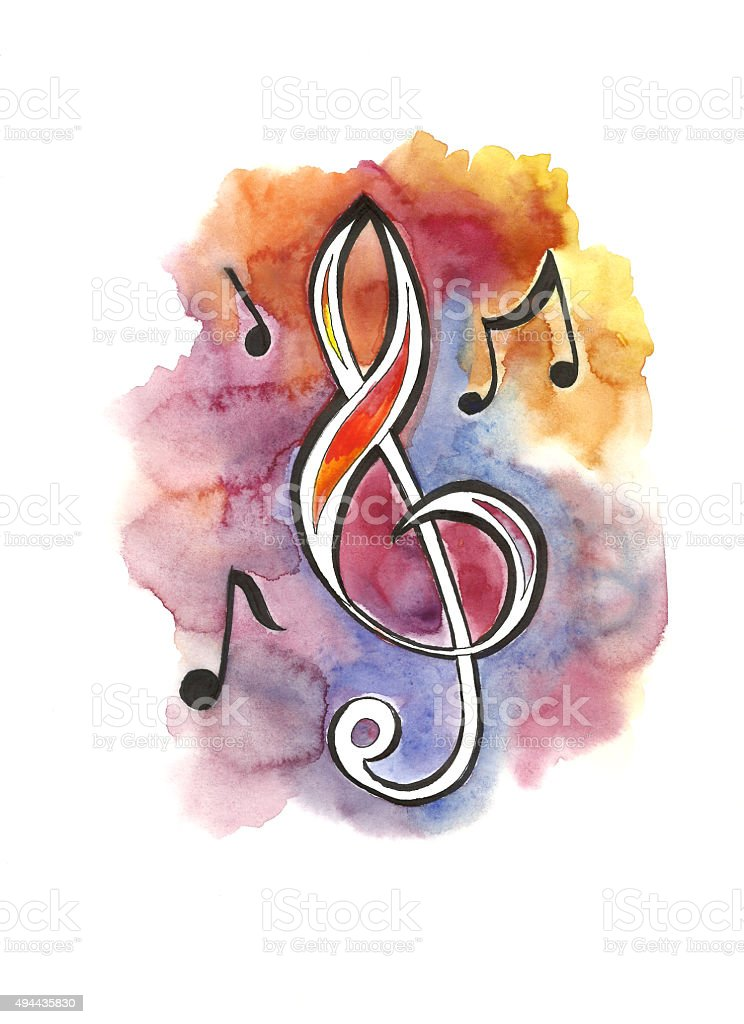 Treble clef and notes vector art illustration