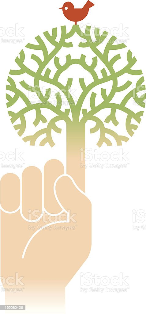 Tree and hand royalty-free stock vector art