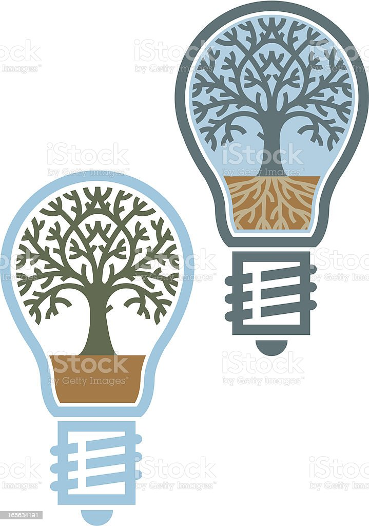 Tree bulb color vector art illustration