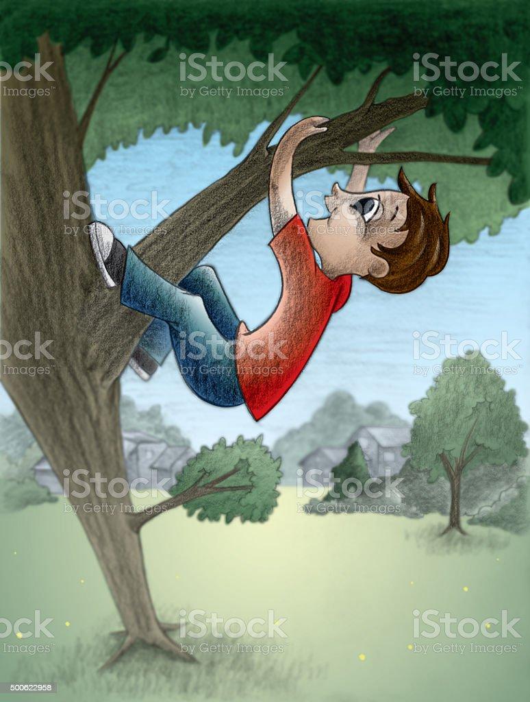 Tree climber vector art illustration