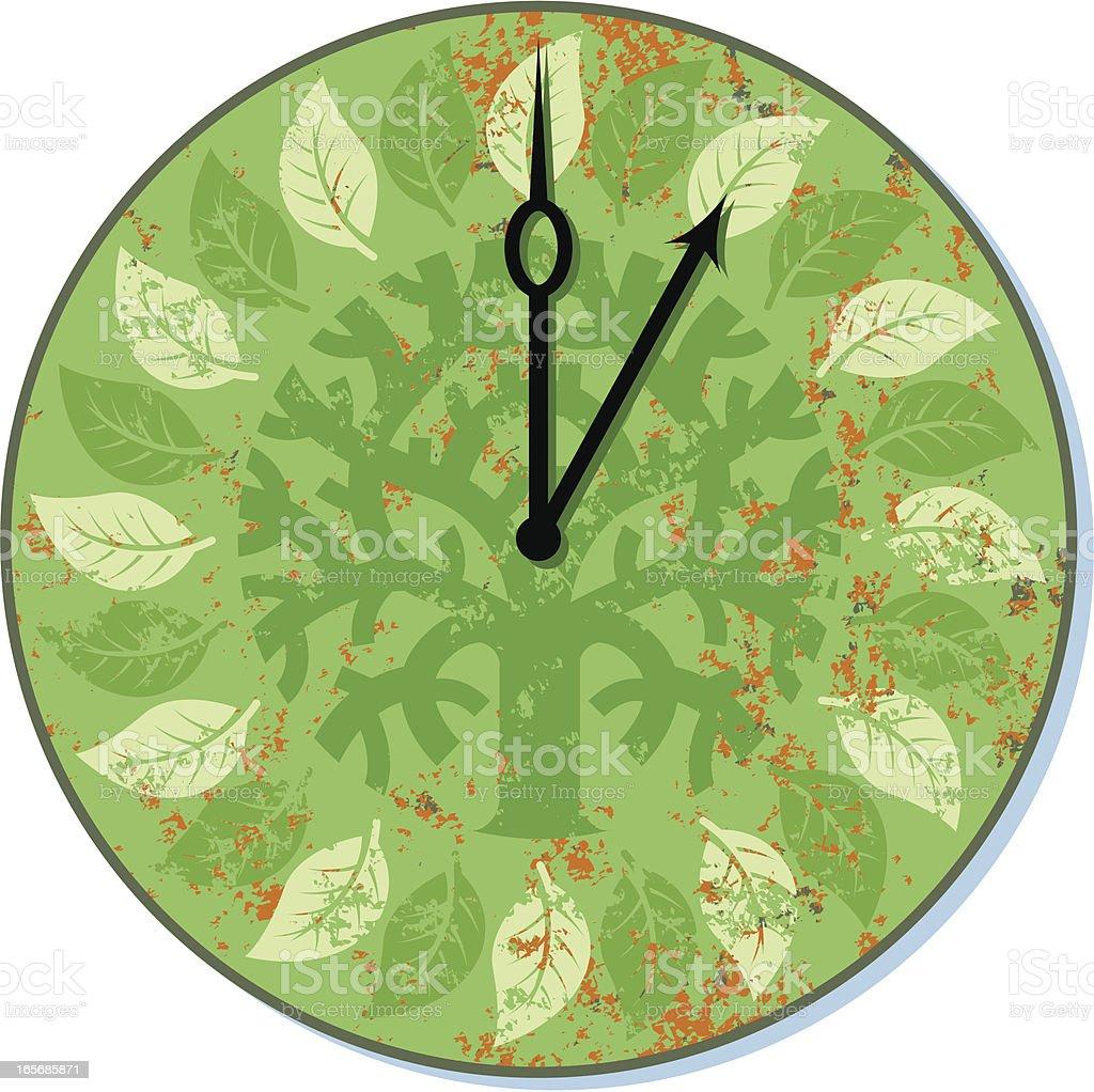 Tree clock vector art illustration