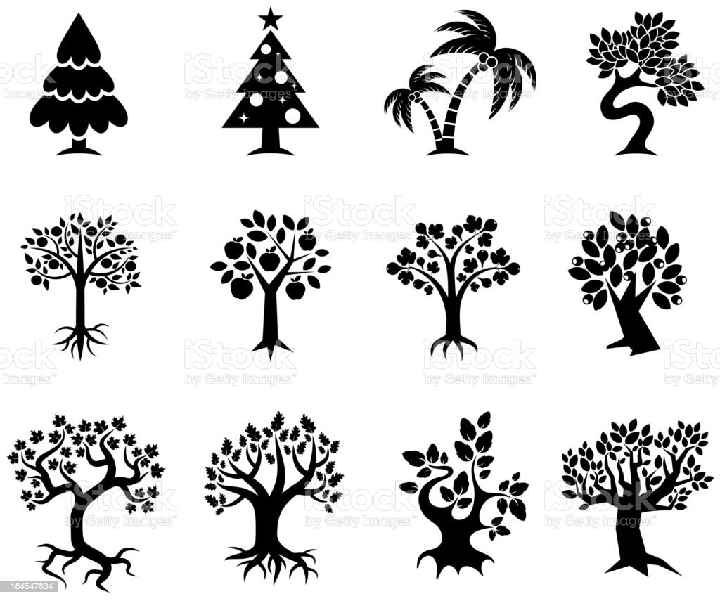 Tree collection black & white royalty free vector icon set vector art illustration