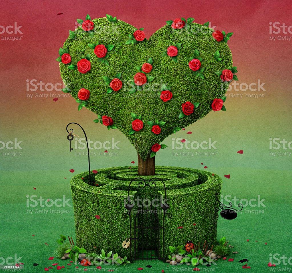 Tree Heart and maze vector art illustration