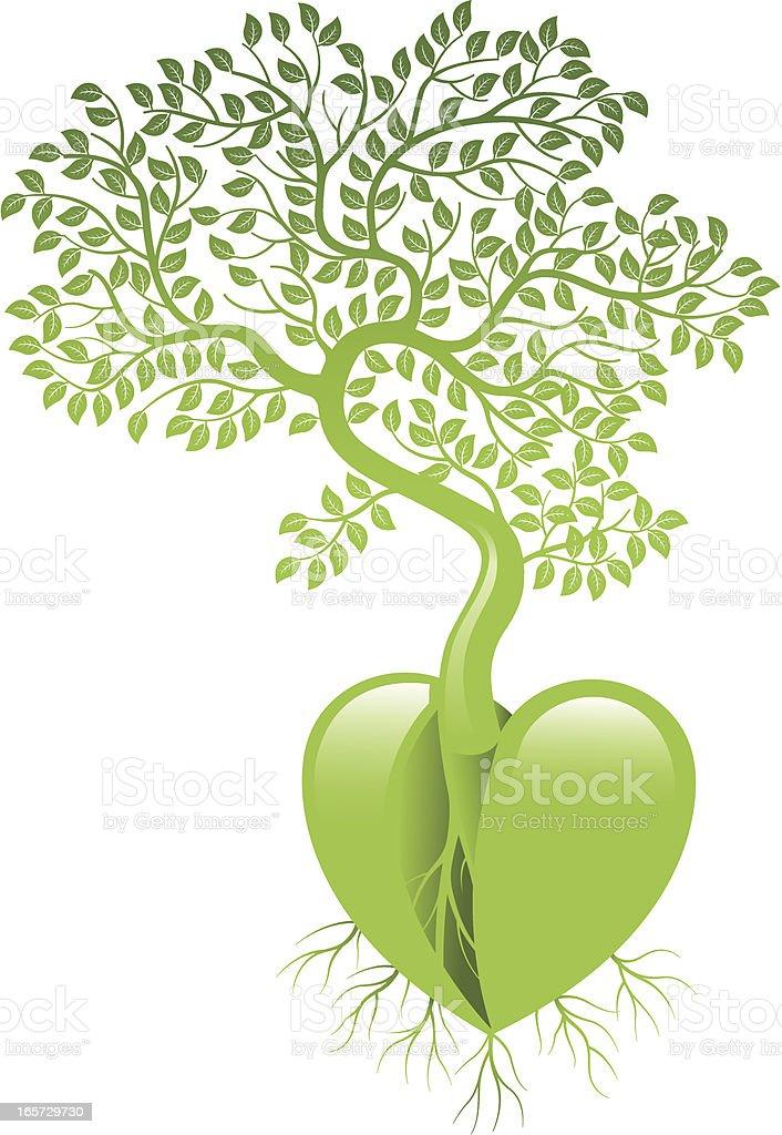 Tree heart vector art illustration