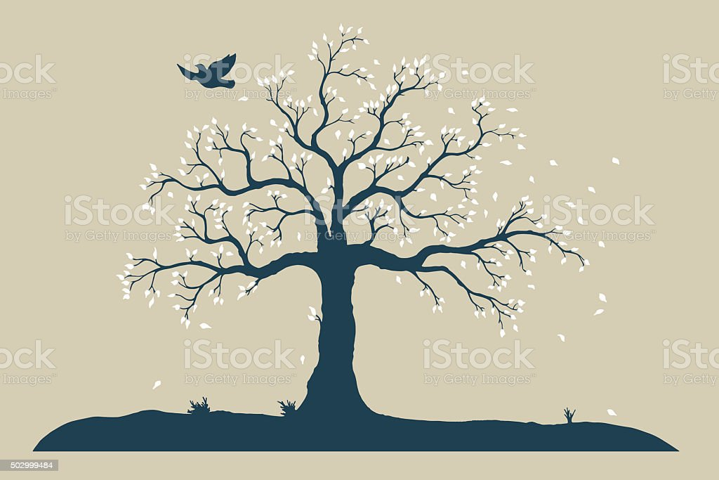 tree in autumn vector art illustration