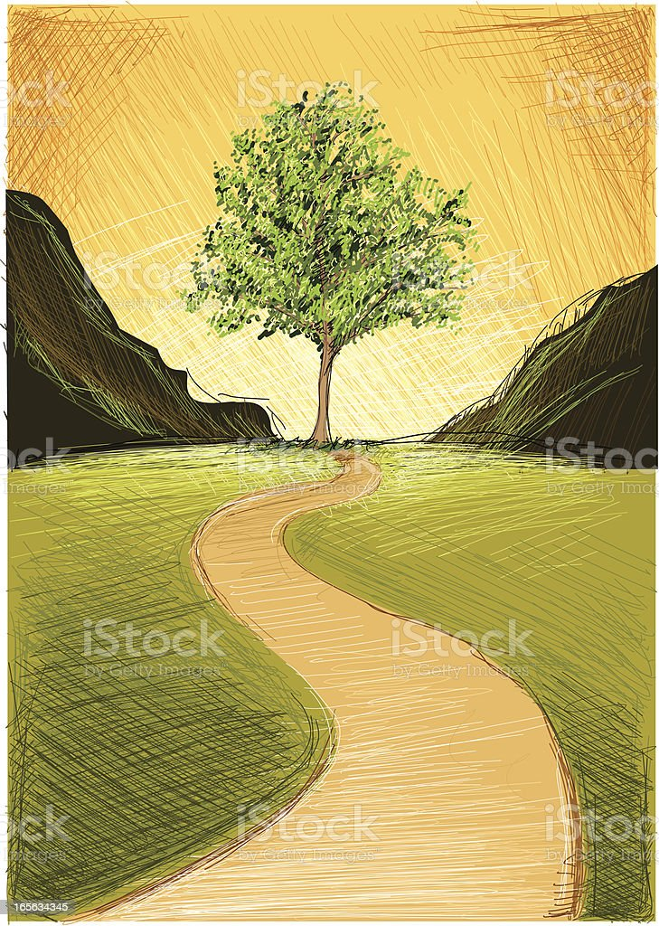 tree in the hills royalty-free stock vector art