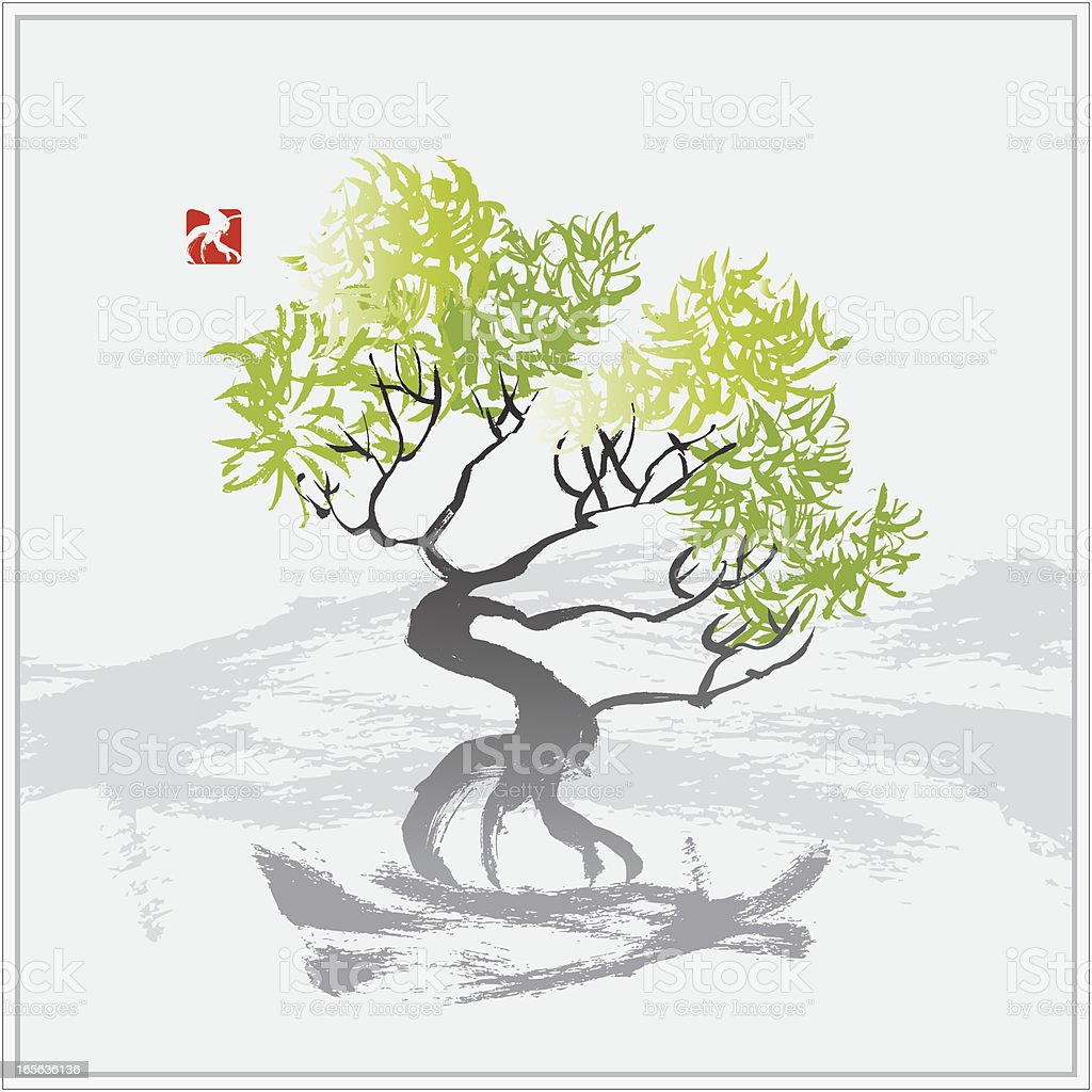 Tree in the Wind vector art illustration