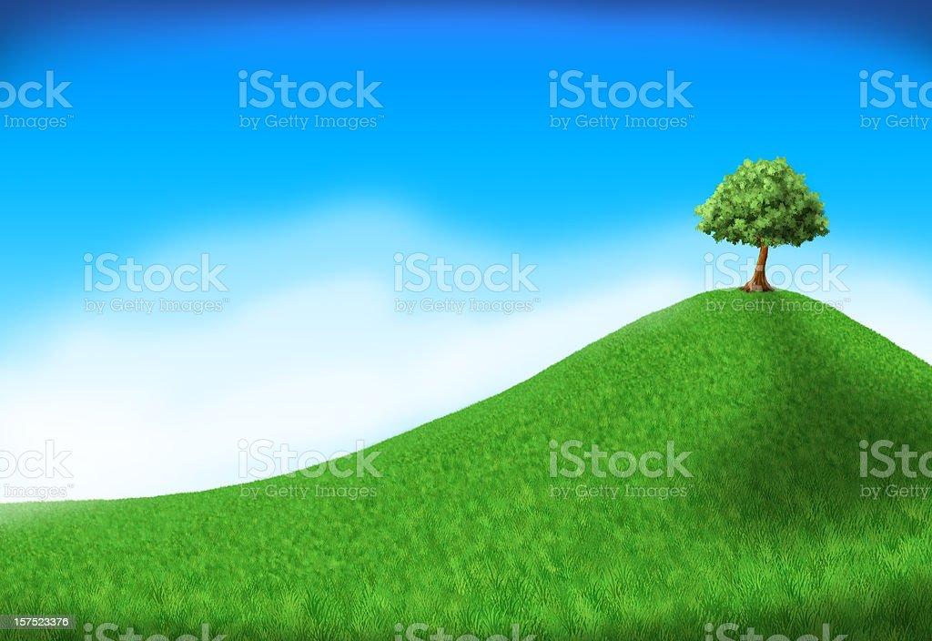 tree on hill royalty-free stock vector art