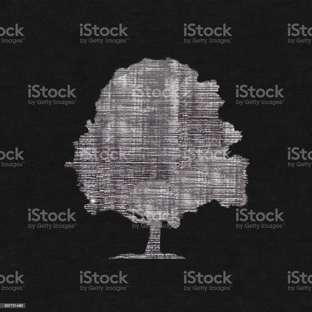 Tree silhouette drawing on chalk board vector art illustration