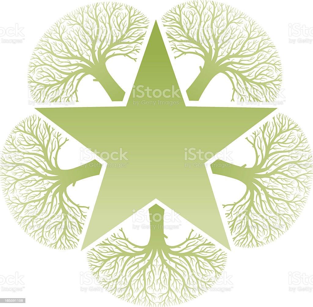 Tree star vector art illustration