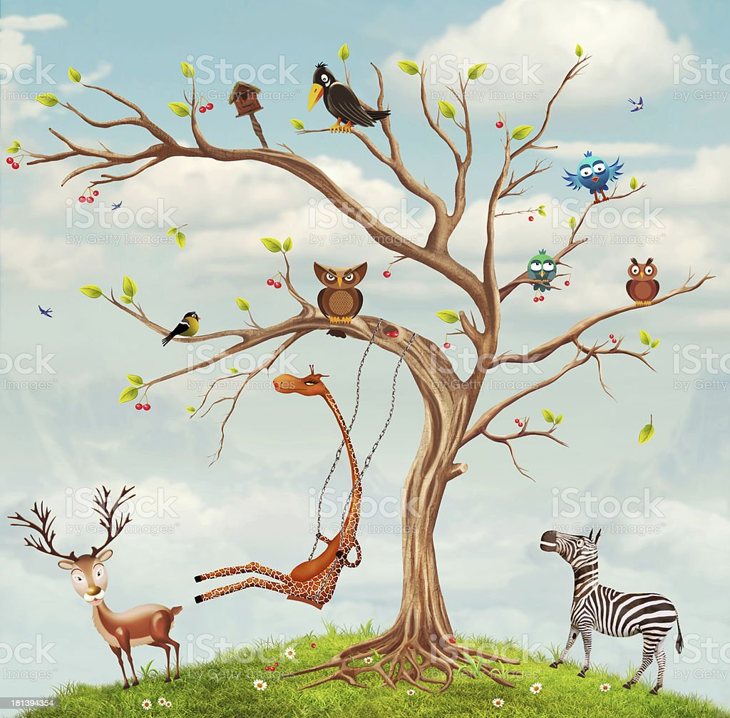 Tree with animals royalty-free stock vector art