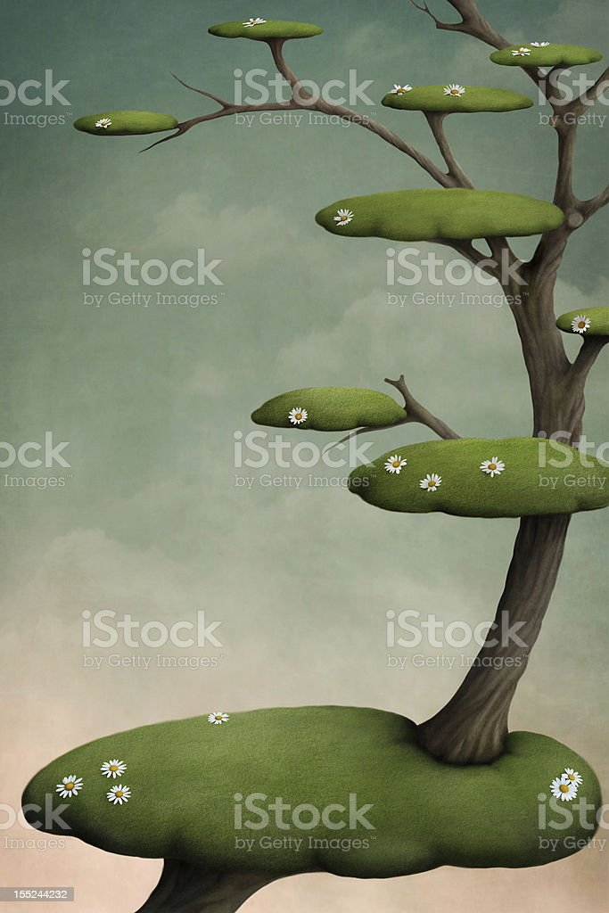 Tree with  green  islands royalty-free stock vector art