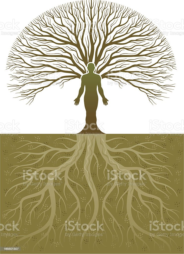 Treeman and roots royalty-free stock vector art