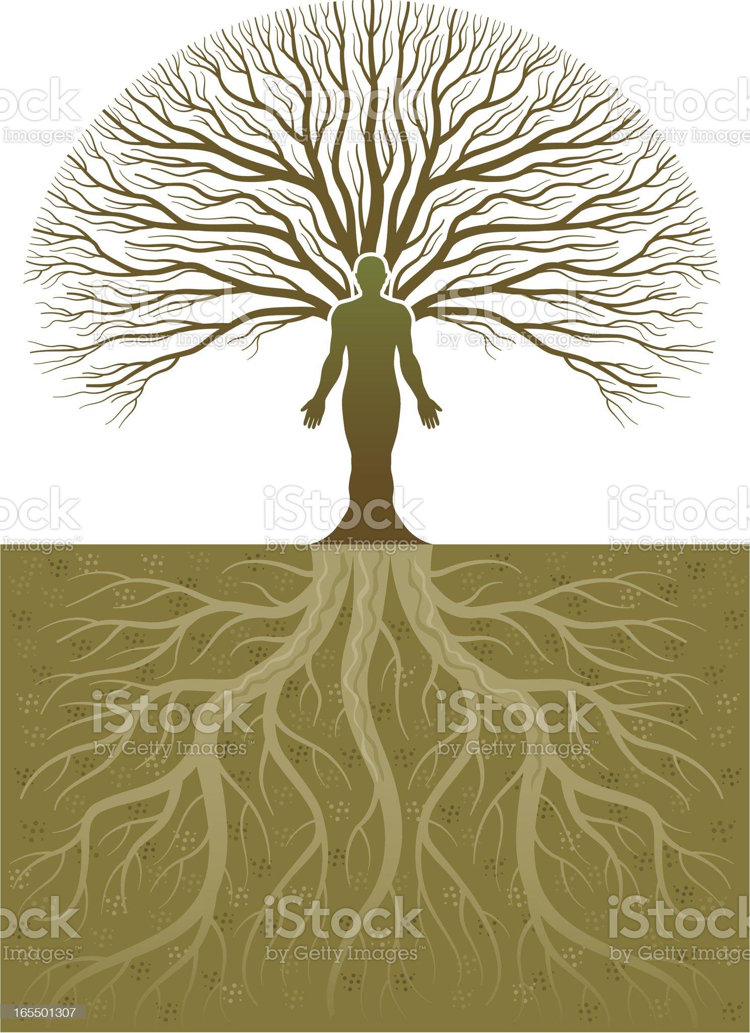 Treeman and roots royalty-free stock vector art