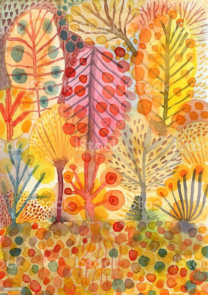 Trees in autumn watercolour illustration vector art illustration