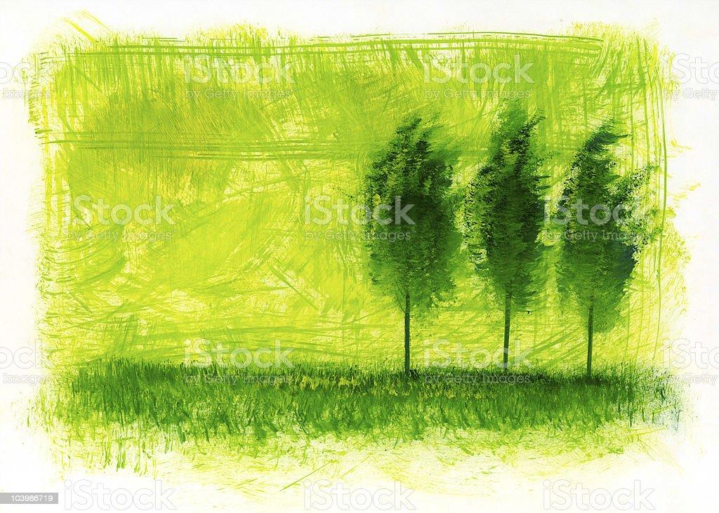 Trees  on a green field. vector art illustration
