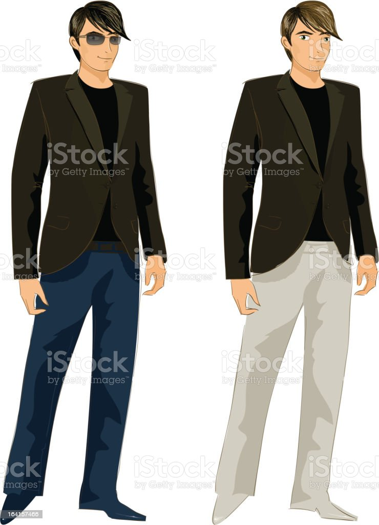 Trendy man in two styles vector art illustration