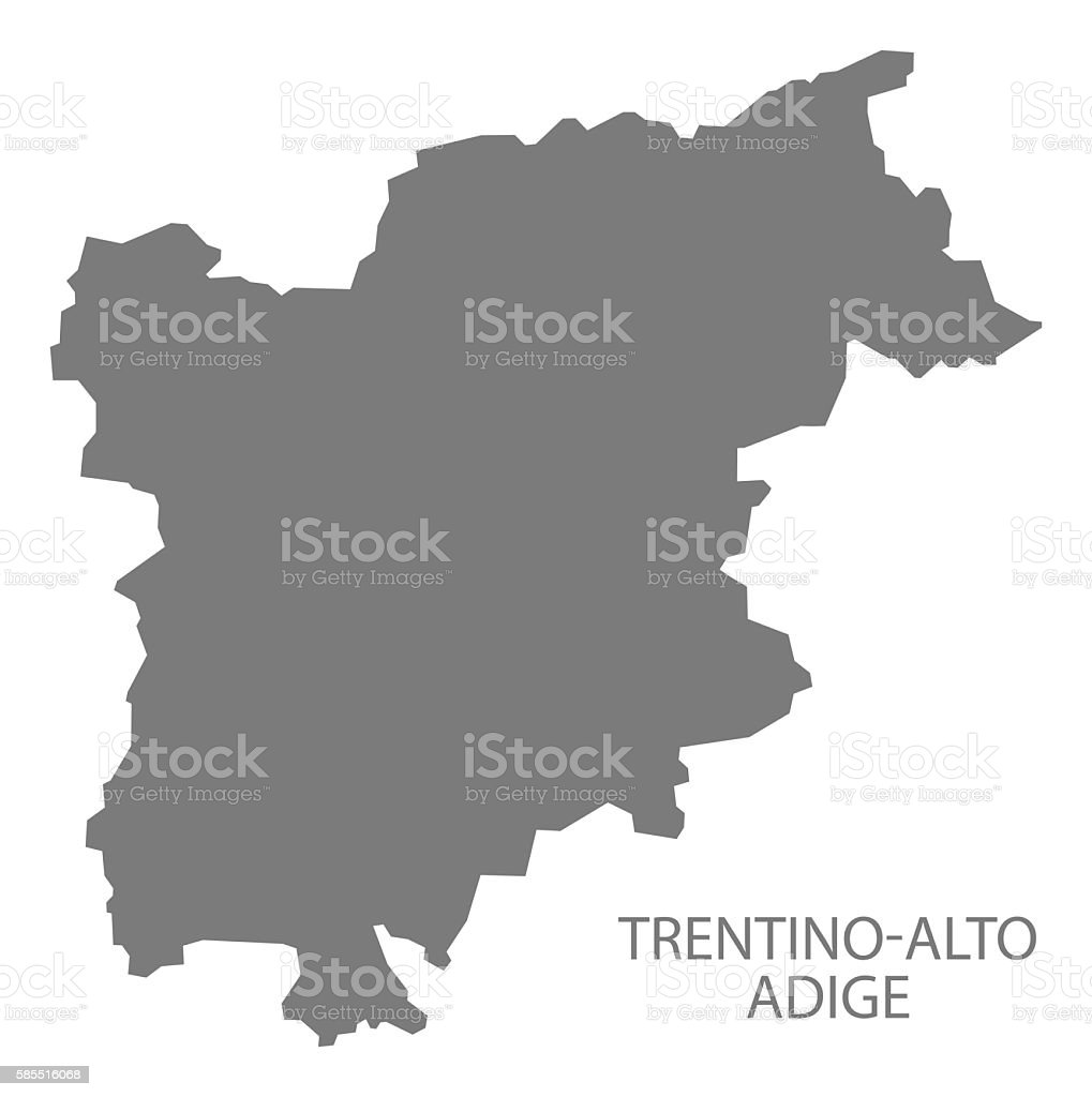 Trentino-Alto Adige Italy Map grey vector art illustration