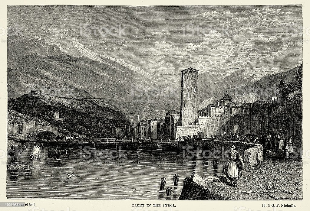 Trento in the Tyrol vector art illustration