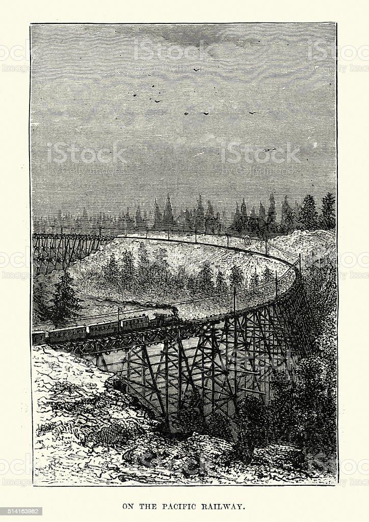 Trestle bridge on the Pacific Railway, 19th Century vector art illustration