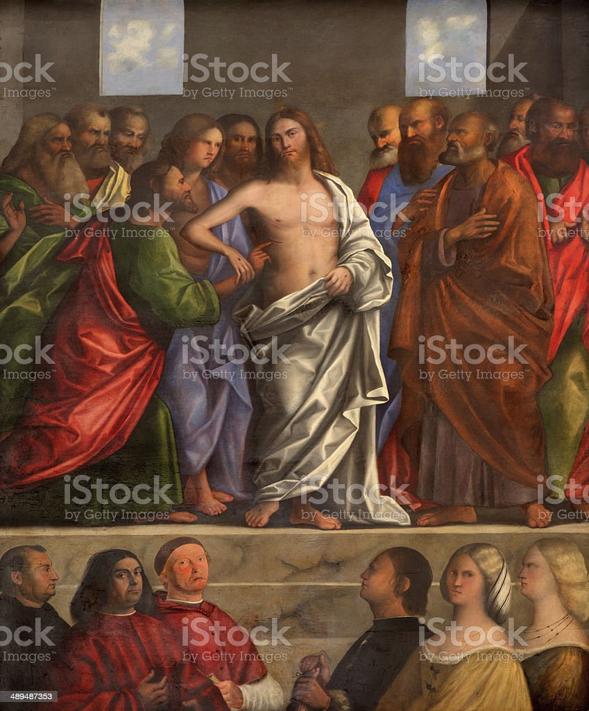 Treviso - The Resurrected Christ by Sebastiano del Piombo vector art illustration
