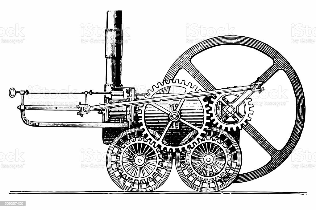 Trevithick's locomotive vector art illustration