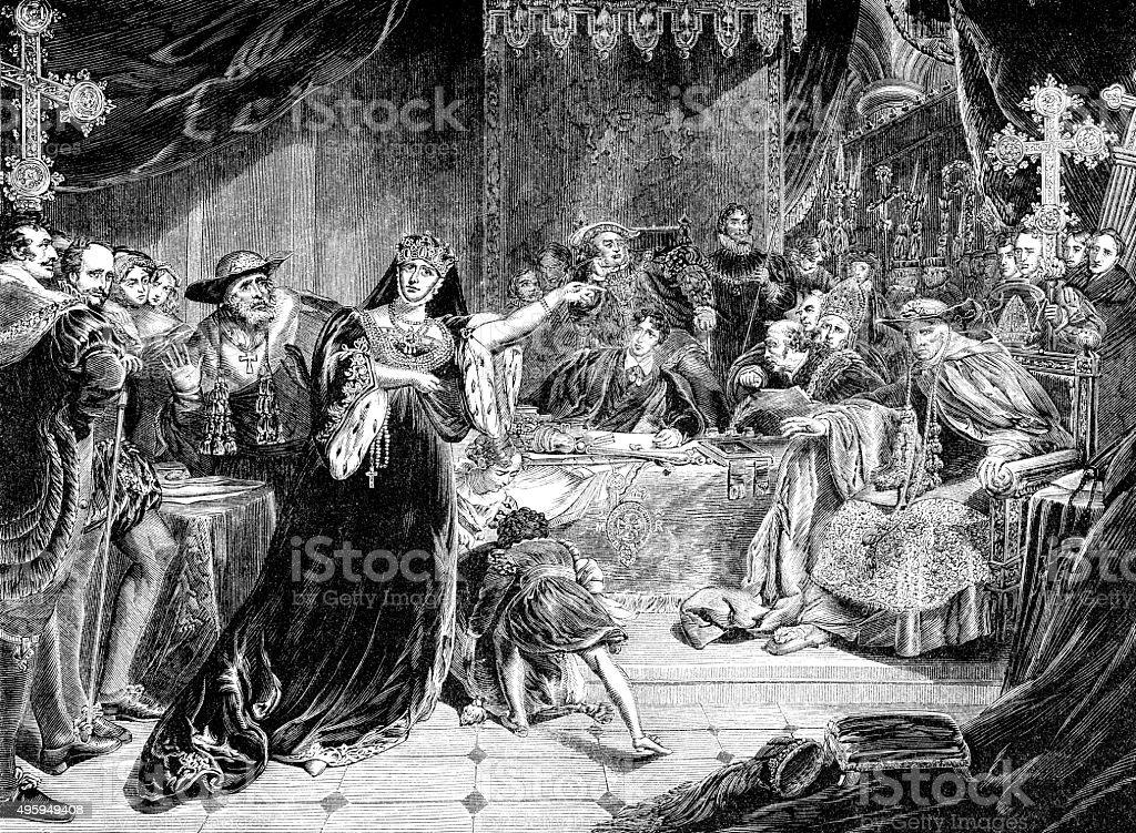 Trial of Catherine Of Aragon vector art illustration