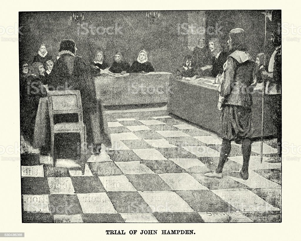 Trial of John Hampden in 1637 vector art illustration