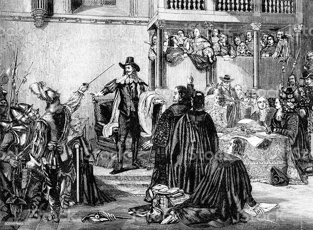Trial Of King Charles I vector art illustration