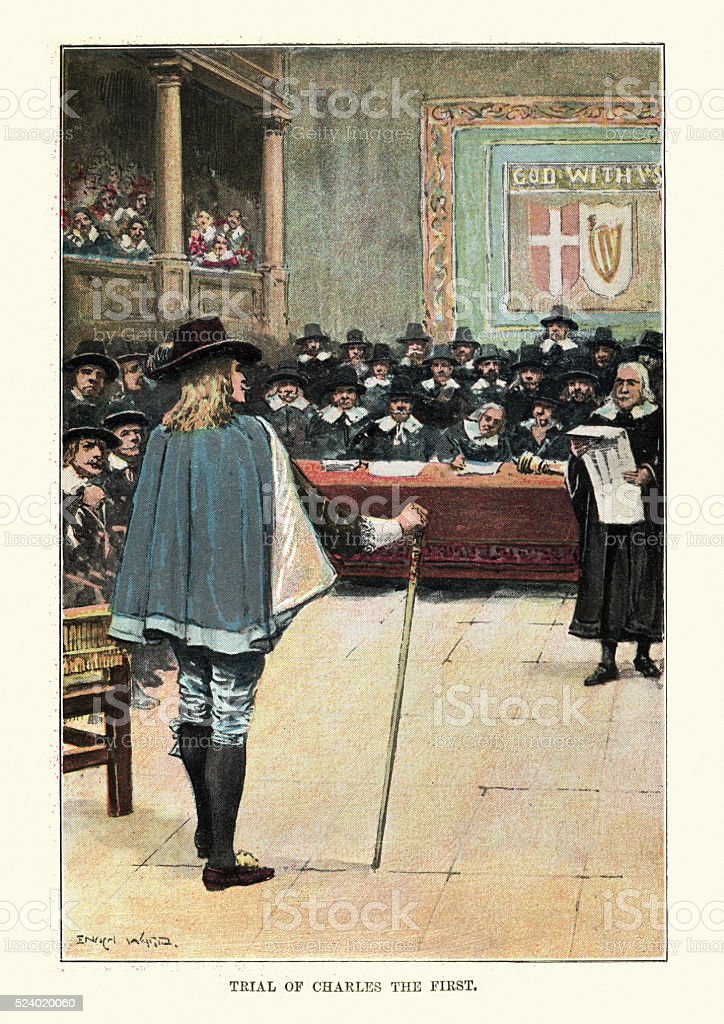 Trial of King Charles the First vector art illustration