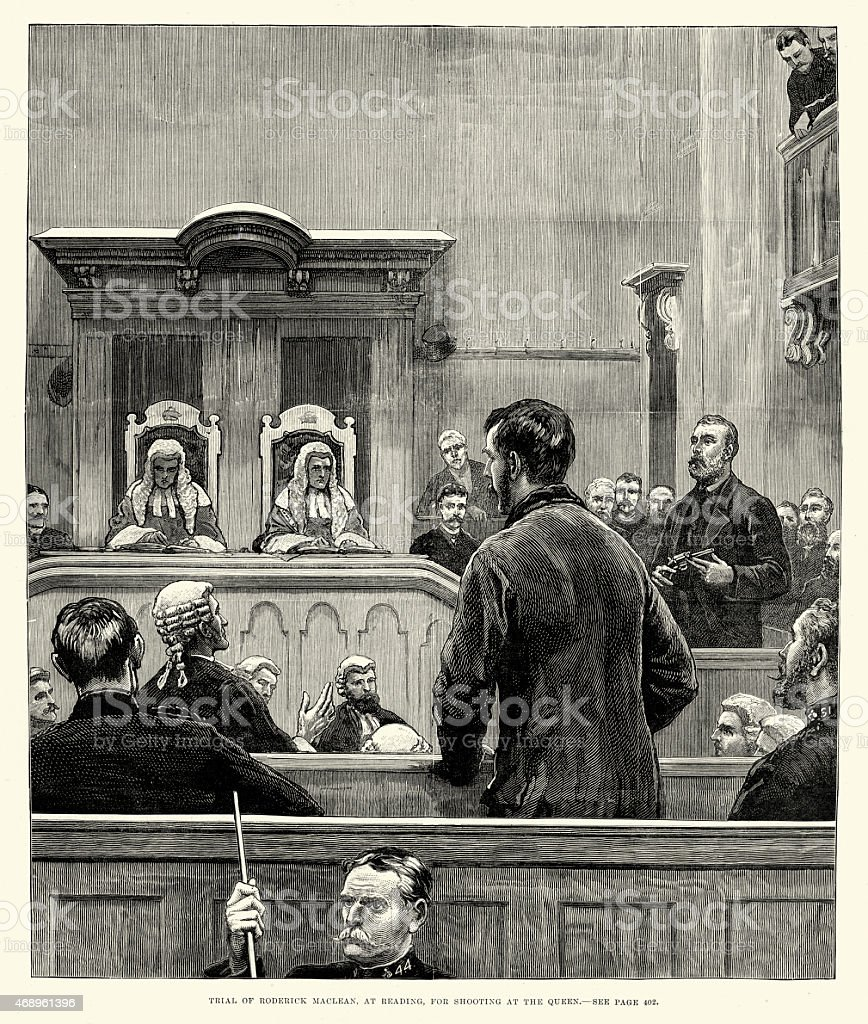 Trial of Roderick McLean for shooting at Queen Victoria 1882 vector art illustration