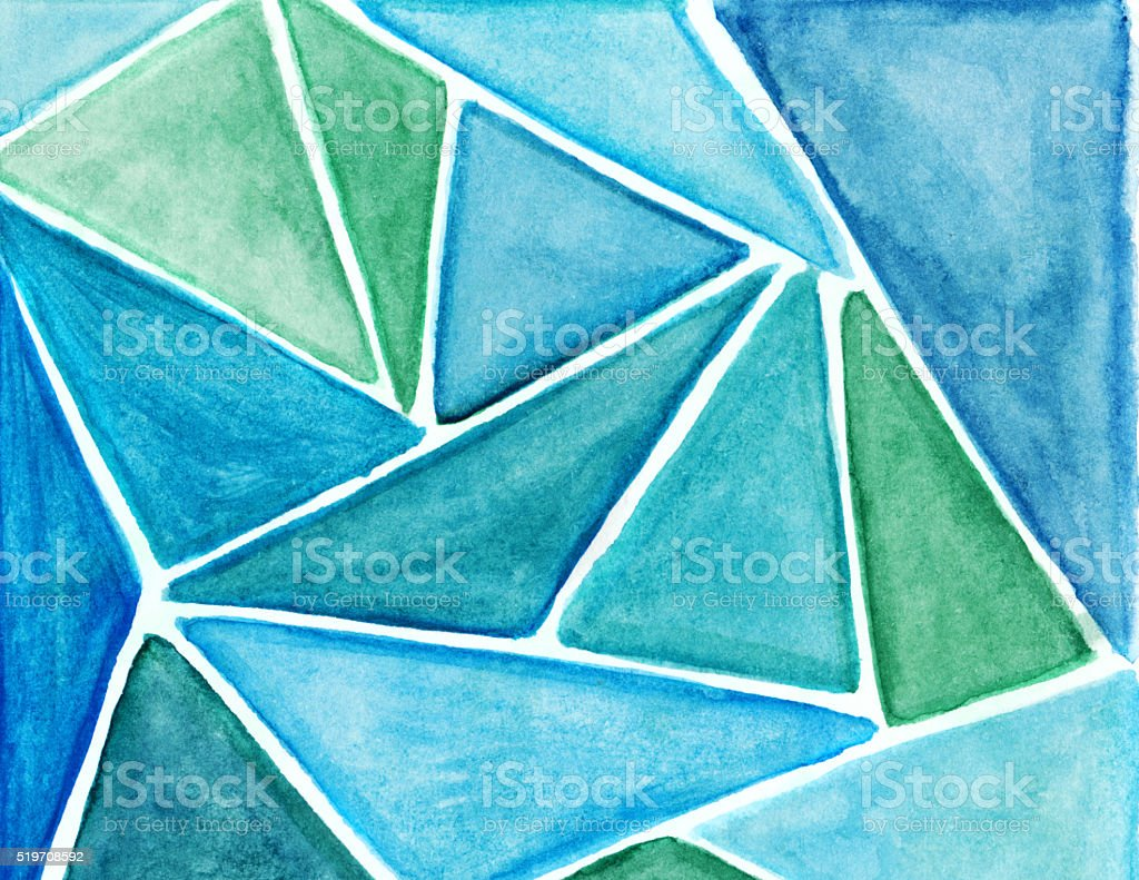 Triangular shapes hand painted with shades of green and blue vector art illustration