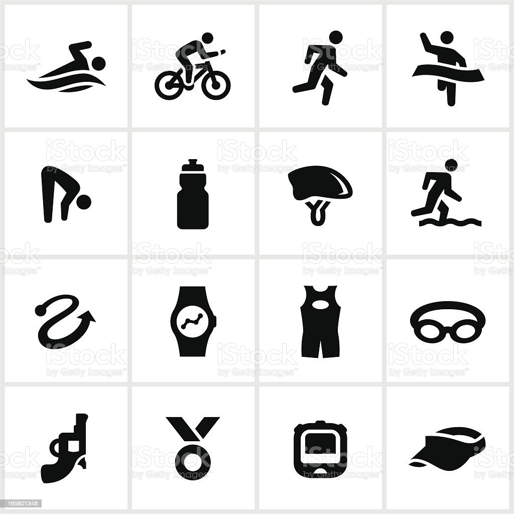 Triathlon Icons vector art illustration