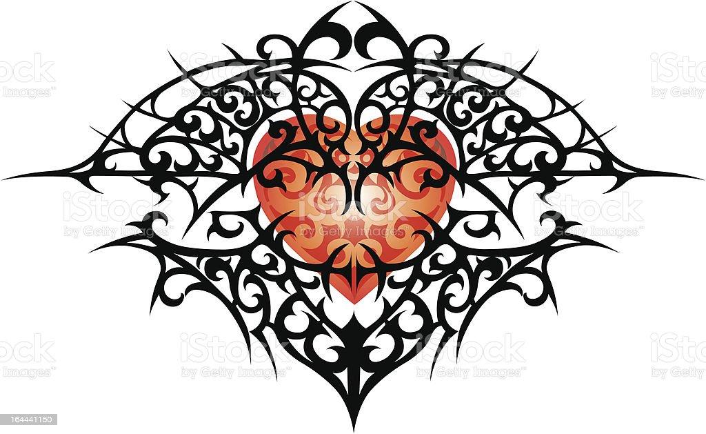Tribal Heart vector art illustration