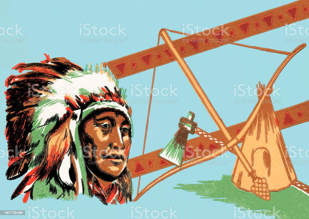 Tribal leader in headdress vector art illustration