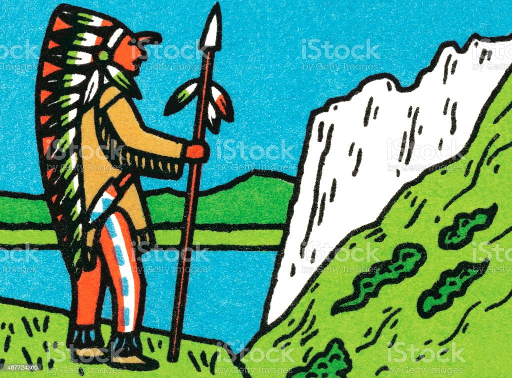 Tribal man at overlook vector art illustration