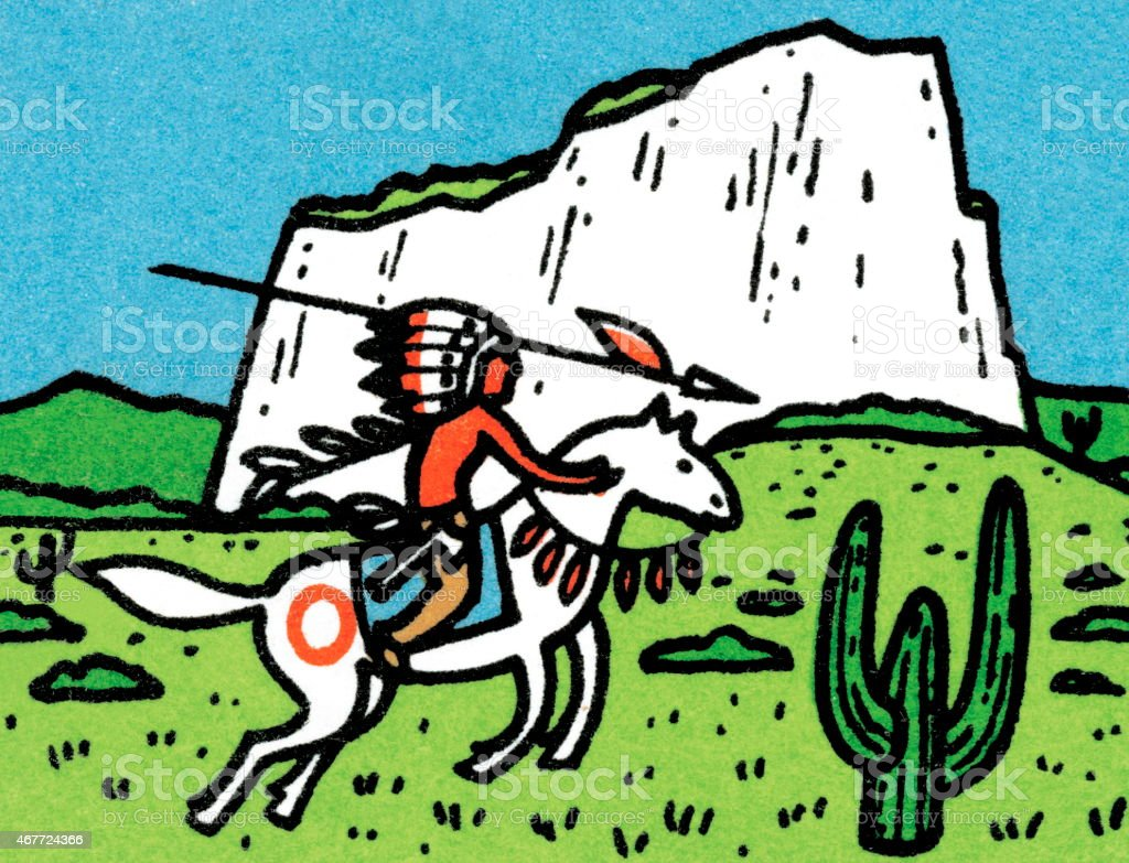 Tribal man on horse vector art illustration