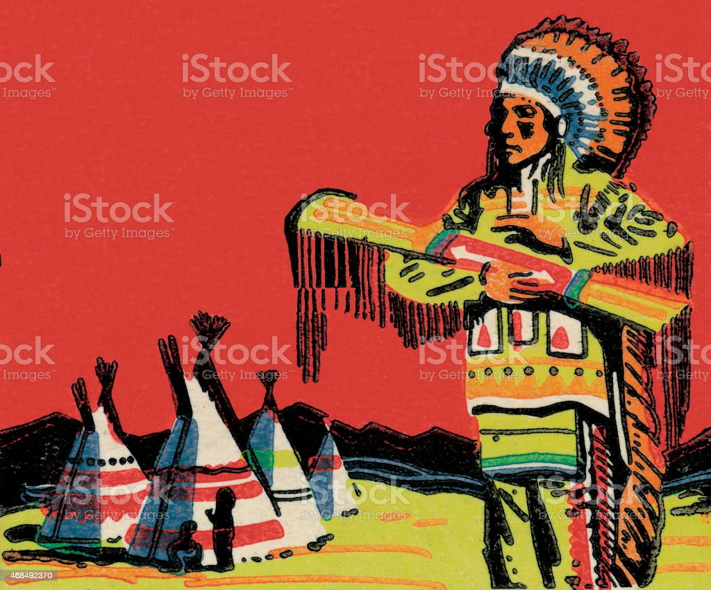 Tribal man on reservation vector art illustration