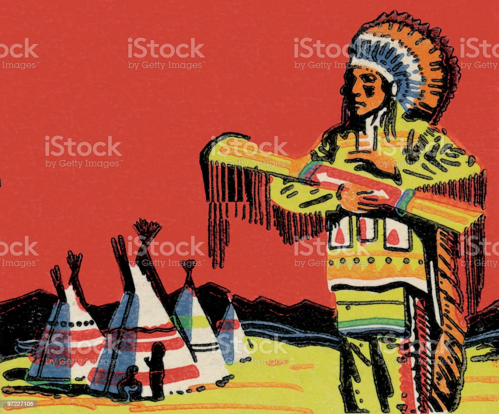 Tribal man on reservation royalty-free stock vector art